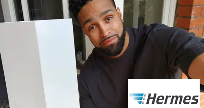 Ashley Banjo with Hermes package